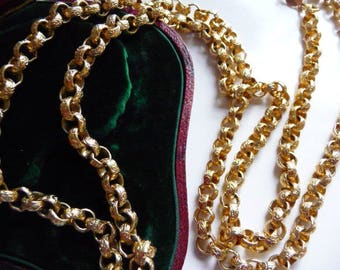 Accessocraft NYC gold tone necklace   vintage fancy embossed chain   30 inches   signed vintage jewelry   1950s 1960s