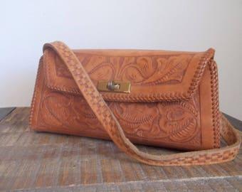 Vintage Tooled Leather Hand Bag