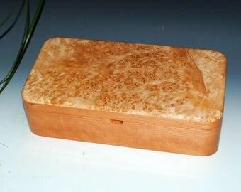Big Leaf Maple Burl on Cherry Handmade Wooden Box With Tray by BurlWoodBox - Wood Jewelry Box, Wood Stash Box, Small Wooden Jewelry Box Tray