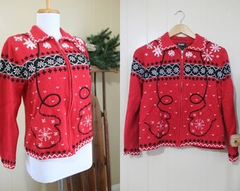 Ugly Christmas Sweater Party Vintage Holiday Red Mitten Pockets Cardigan S