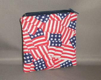 American Flag - Coin Purse - Mini Wallet - Card Case - Small Padded Zippered Pouch - Patriotic - Flags - Americana