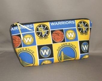 Warriors  Basketball Cosmetic Bag - Makeup Bag - Large Zipper Pouch - Golden State Warriors