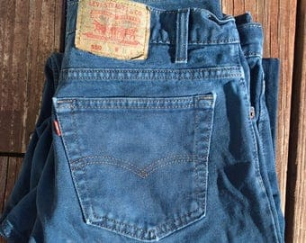 Vintage 35 x 29 Navy Dyed Levi's 550 Jeans - Relaxed Fit Tapered Leg - Made in USA