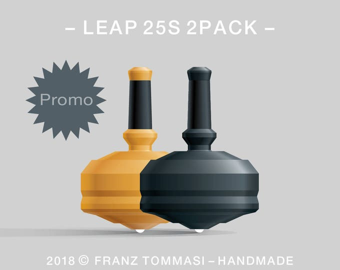 LEAP 25S 2PACK Yellow-Black – Value-priced set of precision handmade polymer spin tops with ceramic tip and rubber grip