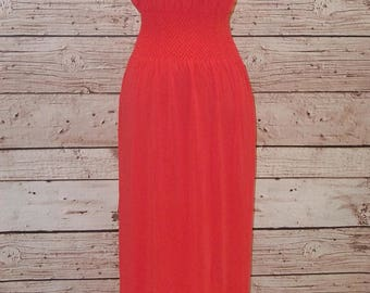 Strapless Maxi dress - Coral, Black or Charcoal