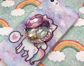 Phone Grip Holder Rhinestone Gem Decoden Bling Sparkly Glam iPhone 5 6 7 plus Android Accessories Kawaii Fairy Kei Lolita