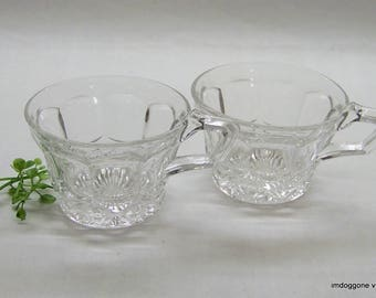 Crystal Tea Cups, Punch Cups, Two (2) Clear Paneled Cups with Diamond Design Bases, Crystal Coffee Cups, Votive Candle Holders