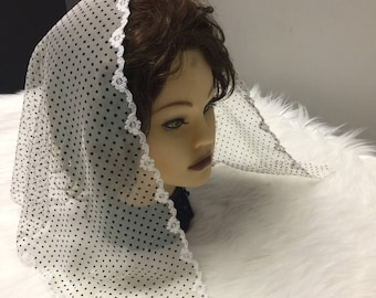 Gray white black polka dot lace - Headcovering - Church or Chapel veil mantilla scarf NEW