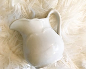 Vintage Ironstone Pitcher Sterling China Creamer White Ironstone Rustic Farmhouse Decor