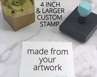 Oversized 4 inch and over Custom Stamp, Logo Stamp, Your 'Design' Logo Stamp, Robins Egg Blue, Wooden Rubber Stamp, Personalized Stamp