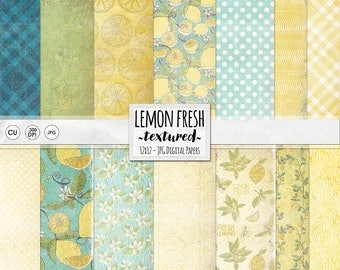 Lemonade Stand Digital Paper, Vintage Kitchen, Lemon Yellow Shabby Chic Background Paper, DIY Summer Party Invites, Instant Download JPG