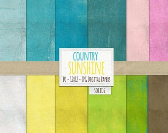 Spring & Summer Grunge Digital Papers for Crafting, Country Sunshine, Textured Cardstock, Shabby Chic Background Papers