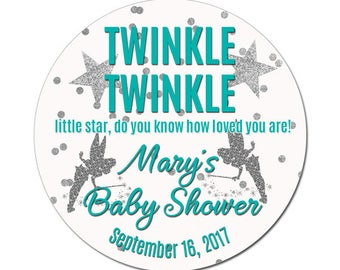 Custom Baby Shower Labels Twinkle Twinkle Personalized Teal and Silver Confetti Baby Boy or Girl Round Glossy Designer Stickers