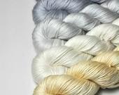 Aging hair - Gradient Yarn Set of Silk / Cashmere Fingering Yarn - Hand Dyed Yarn - handgefärbte Wolle - DyeForYarn