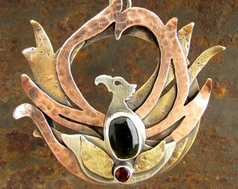 Phoenix Pendant, Sterling Silver, Copper and Brass with Moldavite and Fire Citrine