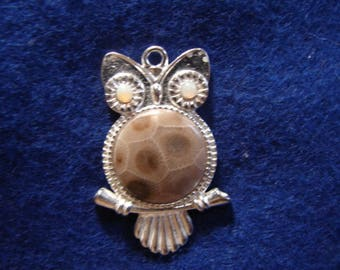 Petoskey Stone Owl With Opal Eyes Pendant Fossil Coral Michigan