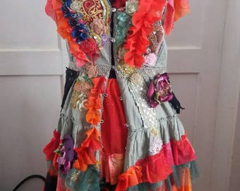 Dress, gypsy Dress, bohemian,boho, festival, etno, faerie,upcycled clothing, size medium, women, flames, steampunk gypsy, layers and frills