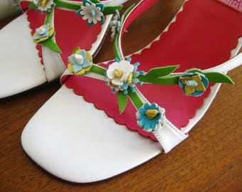 Vintage 90s Lilly Pulitzer NOS White Leather Flowers High Heel Mules Slip On Sandal Shoes size 8