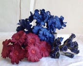 Vintage Millinery Flowers 5 Bouquets Blue Red Daisies & Navy Rose Buds /Hats Fascinator Bouquets Vintage Wedding Paper Flowers Old New Stock