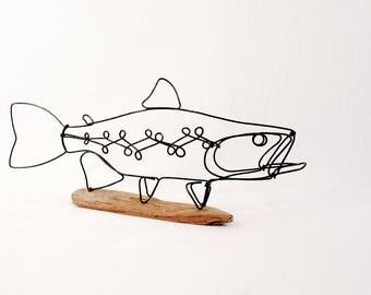 Trout Wire Sculpture, Fish Wire Art, Minimal Wire Design, 564940371