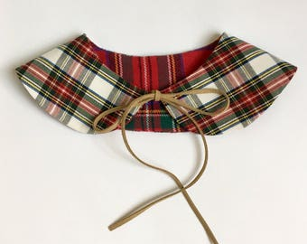 Girls Reversible Tartan Collar // Peter Pan detachable rounded collar Christmas plaid white red and green