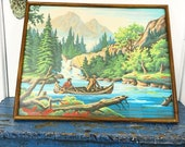 Vintage Painting Paint By Number Summer Canoe Framed Under Glass Four Seasons