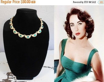 Anniversary Sale 35% Off I'm Waiting For My Jewels - Vintage 1960s Gold Tone & Emerald Glass Etruscan Choker Necklace