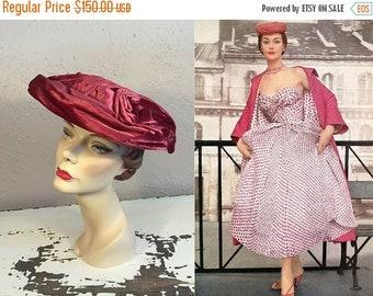 Anniversary Sale 35% Off Rose Buds in Paris  - Vintage 1950s Deep Mauve Pink Velvet Swirl Platter Dish Wide Brim Hat