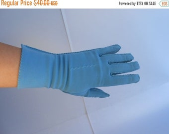 Anniversary Sale 35% Off Teal I See You Again - Vintage 1950s Teal Blue Nylon Over the Wrist Gloves - 6.5/7