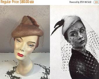 Anniversary Sale 35% Off Pivot Pivot Pivot - Vintage 1950s Beige Synthetic Straw Dome Hat w/Veil