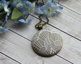 Modern White Pendant With Beige Fabric, Lace Jewelry, Large Geometric Art Deco Necklace