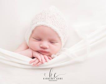 Baby Mohair Hat, Baby Girl Hat, Baby Bonnet, Beanie, Newborn Hat, Ivory Hat, Pink Dusty Rose Hat, Baby Photo Prop, Newborn Props, RTS