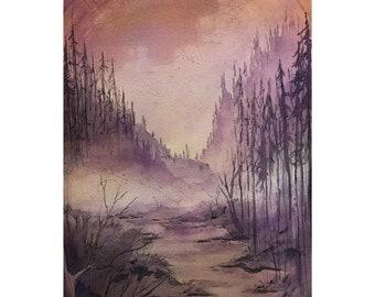 Watercolor Painting Original Watercolor Art Painting Ink Drawing Watercolor Landscape Painting Fairytale Landscape Watercolor