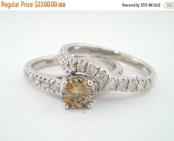10% ON SALE Champagne & White Diamond Engagement Ring Wedding Anniversary Band Sets 1.14 Carat 14K White Gold handmade Bridal Ring Sets