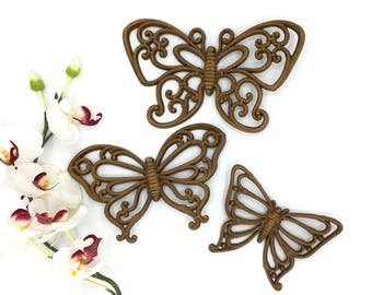 Vintage Molded Plastic Butterfly, Faux Rattan, Wall Decor, Set of Three, Boho Decor