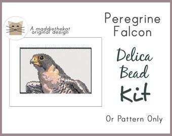 New - Peregrine Falcon Larger Panel Peyote Seed Bead Pattern PDF or KIT DIY Animal Bird