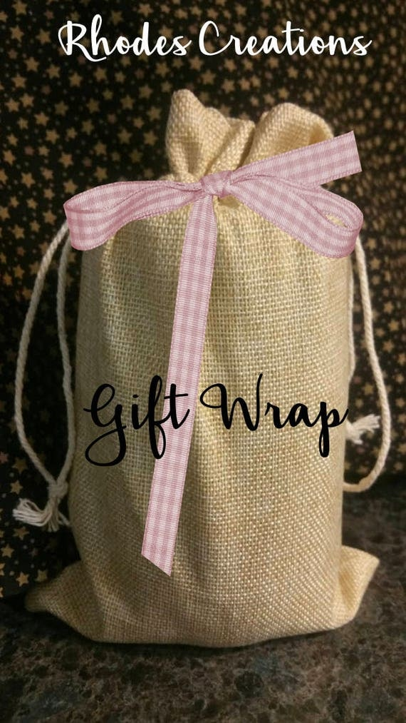 Gift Wrap Option* Burlap Gift Bag with Ribbon and Tag