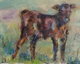 Cow Painting, Abstract Cow Painting, farmhouse decor, Bovine Art, palette knife art, Brown Cow, 5x7, Animal, Farm Animals, Original Oil