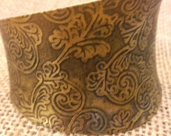 Vintage Bronze Brass Engraved Orient Ornament Woman Bangle Bracelet