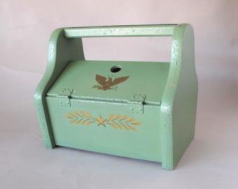 Green Wooden Shoe Shine Box
