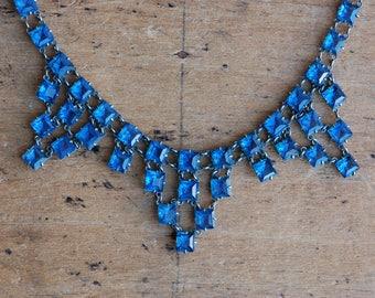 Vintage 1930s Art Deco blue glass bib collar necklace