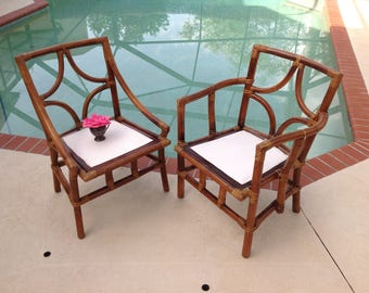 BAMBOO RATTAN CHAIRS / Ficks Reed Bamboo Rattan Chairs / Bentwood Bamboo / One Chair / 2 Avail / Palm Beach Island style at Retro Daisy Girl