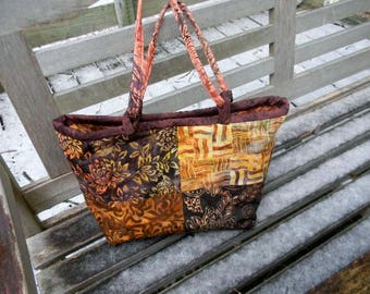 Large Batik Handbag/Shoulder Bag OOAK  Earth Colors