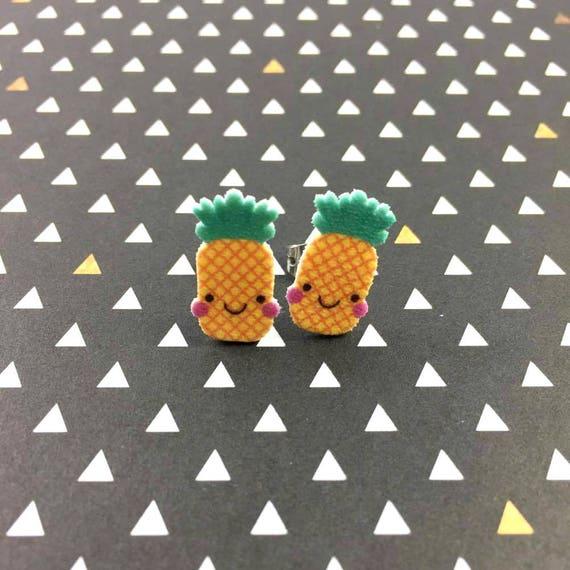 pineapple, smile, stud earring, green, yellow, print on plastic, shrink plastic earring, stainless stud, handmade, les perles rares