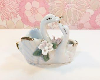 Vintage Retro 60s 70s Kitsch Double Swan Porcelain Ornament Dish by Gascon Spain
