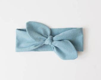 SALE Knotted Bow Headband / Blue / RTS / Babies / Toddlers / Turban Headband / Baby Headwrap