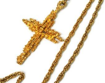 Vintage Cross / Gold Tone Christian Jewelry / Religious Pendant