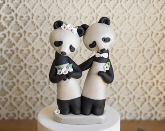 Panda Bear Wedding Cake Topper by Bonjour Poupette