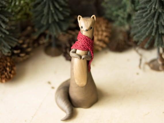 Pine Marten Figurine - Pine Marten Wearing a Red Scarf by Bonjour Poupette