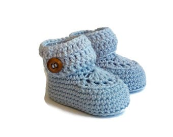 Aqua Crochet Baby Booties Merino Wool Newborn Crib Shoes Baby Slippers Knitted Baby Booties Gender Neutral Baby Gift by Warm and Woolly Etsy